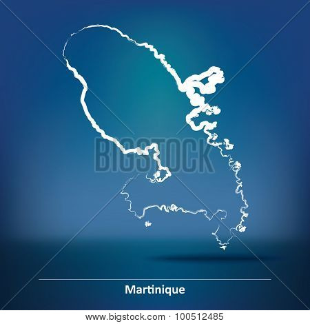 Doodle Map of Martinique - vector illustration