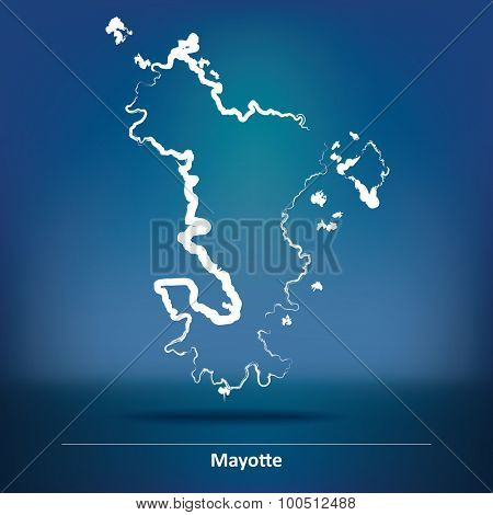 Doodle Map of Mayotte - vector illustration