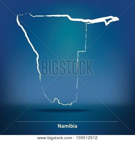 Doodle Map of Namibia - vector illustration