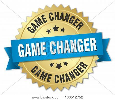Game Changer 3D Gold Badge With Blue Ribbon