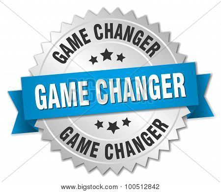 Game Changer 3D Silver Badge With Blue Ribbon