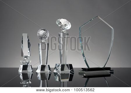 trophy in gray background