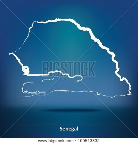 Doodle Map of Senegal - vector illustration