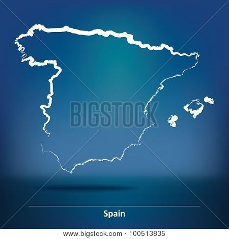 Doodle Map of Spain - vector illustration