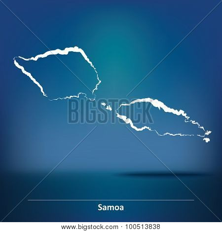 Doodle Map of Samoa - vector illustration