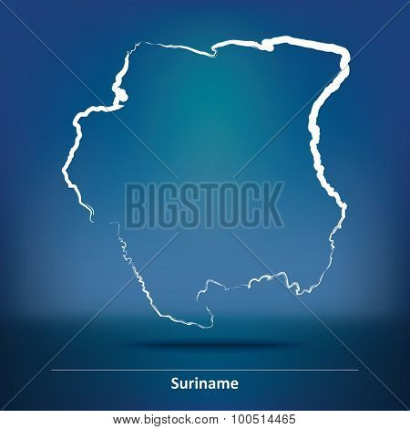 Doodle Map of Suriname - vector illustration