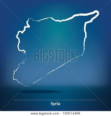 Doodle Map of Syria - vector illustration
