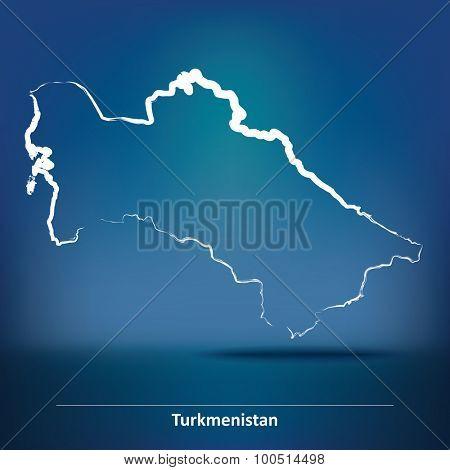 Doodle Map of Turkmenistan - vector illustration