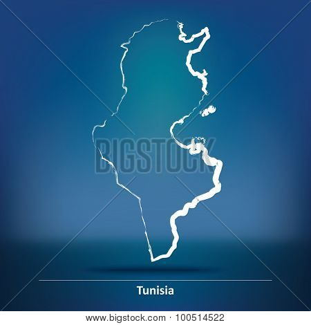 Doodle Map of Tunisia - vector illustration