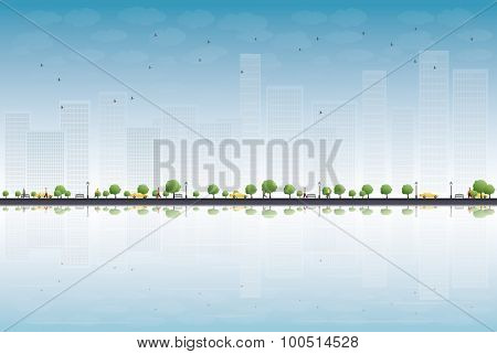 Colorful city panorama and place for text