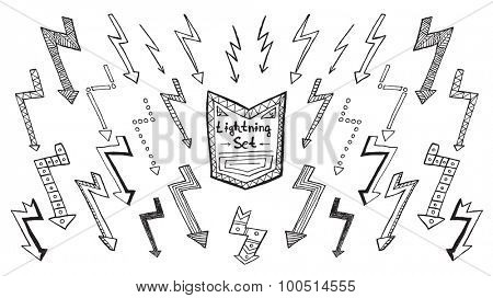 Set of hand drawn lightning on white background