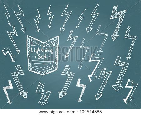 Set of hand drawn lightning on blue background