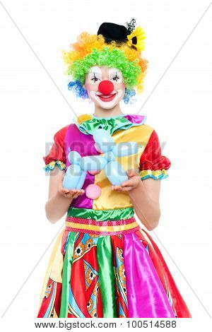 Beautiful Young Woman As Colorful Clown