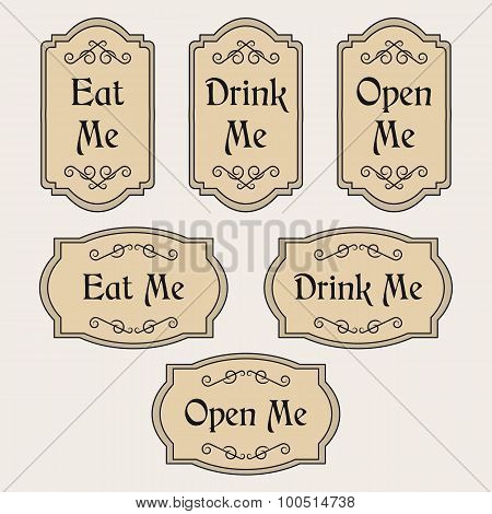 Eat, Drink, Open Me vintage labels