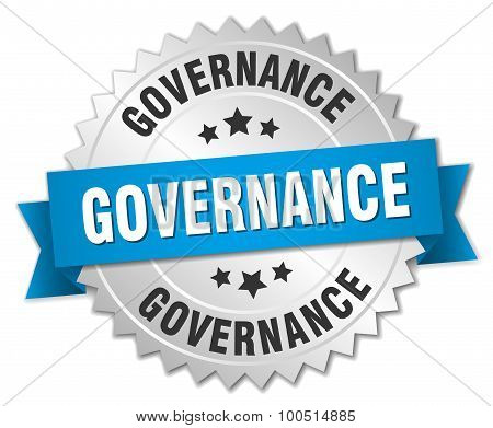 Governance 3D Silver Badge With Blue Ribbon