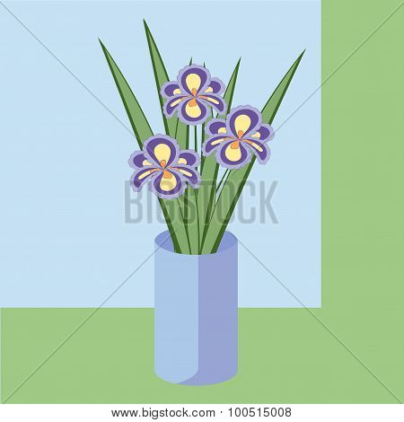 Vector Illustration Of Bouquet Of Iris Flowers. Card Of Purple Abstract Flowers With Leaves