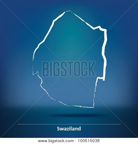 Doodle Map of Swaziland - vector illustration