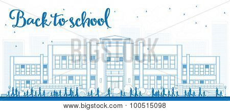Outline Landscape with school bus, school building and people