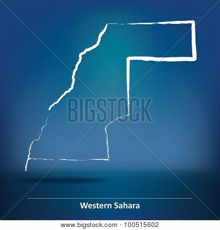 Doodle Map of Western Sahara - vector illustration