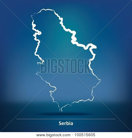 Doodle Map of Serbia - vector illustration