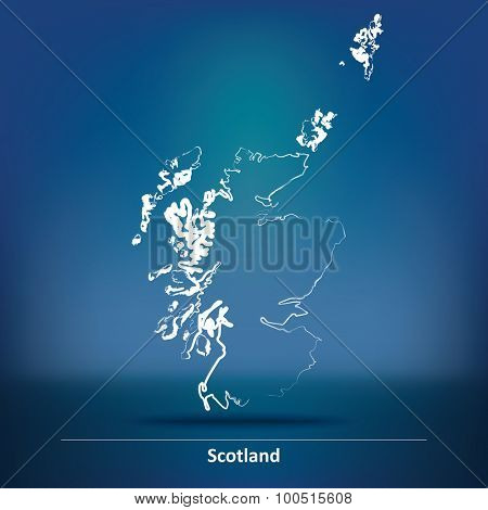 Doodle Map of Scotland - vector illustration