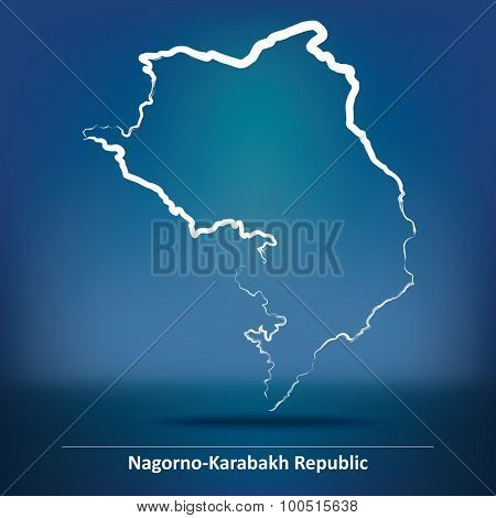 Doodle Map of Nagorno-Karabakh Republic - vector illustration