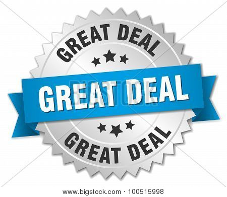 Great Deal 3D Silver Badge With Blue Ribbon