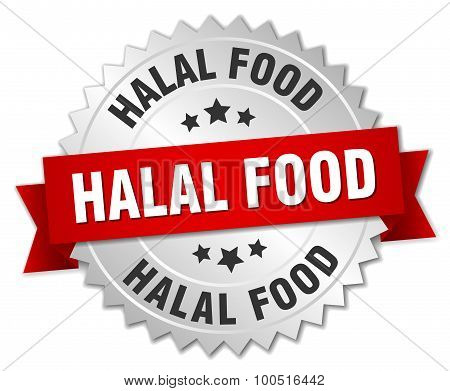 Halal Food 3D Silver Badge With Red Ribbon