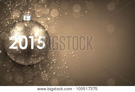 2015 New year golden background with christmas bauble. Vector illustration with place for text.