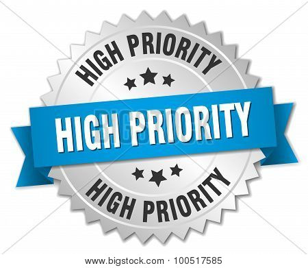 High Priority 3D Silver Badge With Blue Ribbon