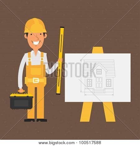 Builder holding tools near flip-chart