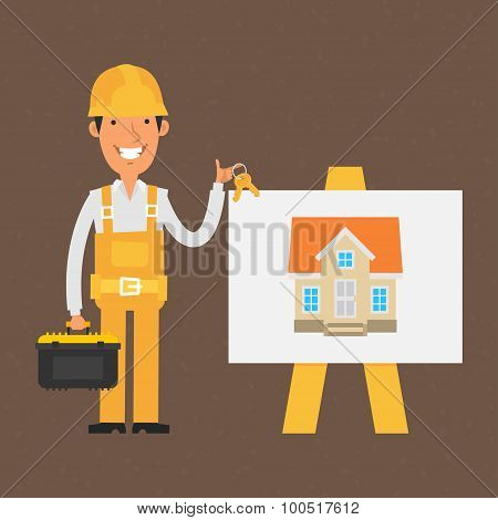 Builder stands near flip-chart and holds keys