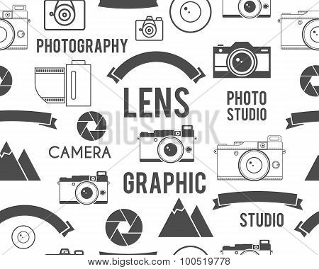 Photography symbols elements seamless pattern. Outdoor photo, graphic studio keywords. Monochrome te