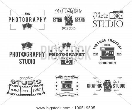 Vintage Photography Badges, Labels. Monochrome design with stylish cameras and elements. Retro style