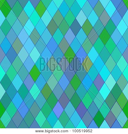 Vector Seamless Pattern With Rhombs. Abstract Blue Texture. Geometrical Background. Cold Colors.