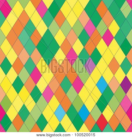 Vector Seamless Pattern With Rhombs. Abstract Bright Texture. Geometrical Background.