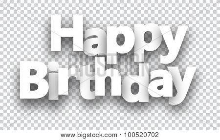 Happy birthday paper sign over cells. Vector illustration.