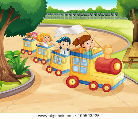 Children riding on the train in the park illustration