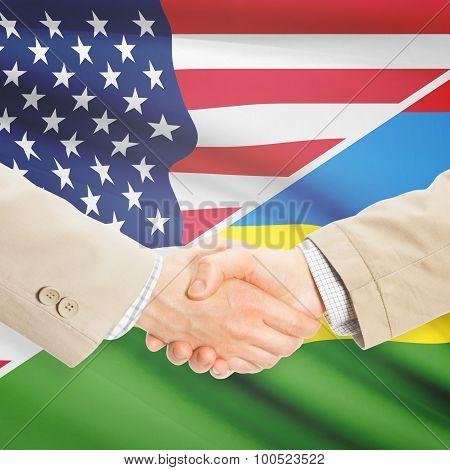 Businessmen Handshake - United States And Mauritius