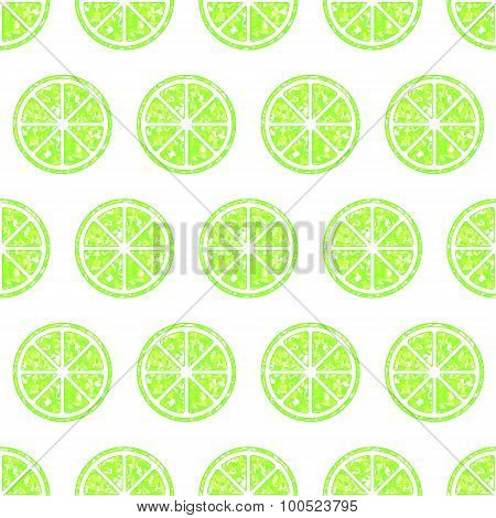 Seamless Pattern With Glitter Lime Slices