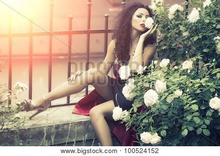 Tender Sexy Young Woman Posing Near Fence