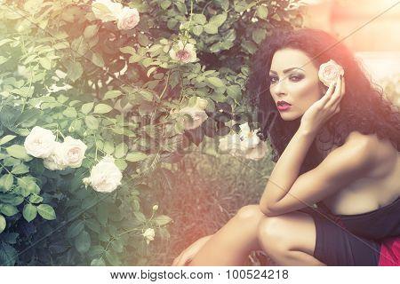 Pretty Young Sexy Women Posing Near Bush