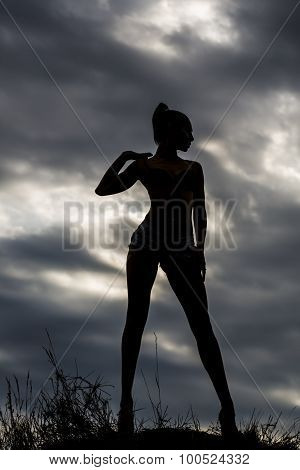 Female Silhouette And Sky