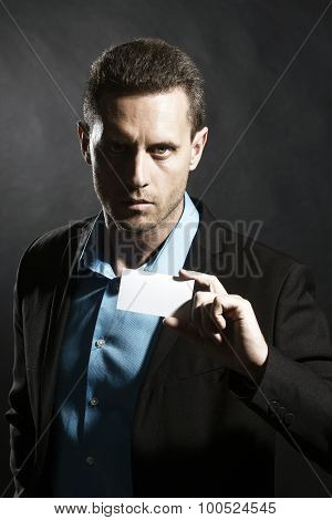 Brunette Man With Card
