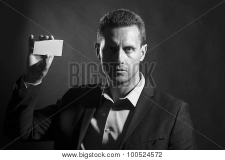Handsome Man With Blank Card