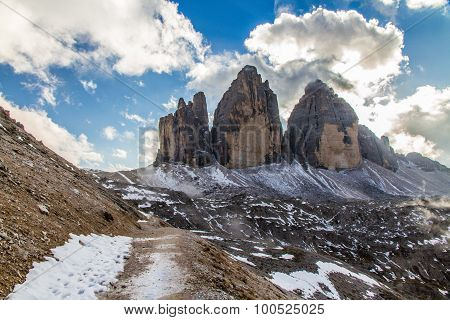 Dolomites Mountain With Cloudy Sky-dolomites,italy