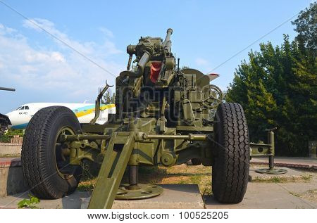 KIEV, UKRAINE - SEP 2, 2015:  Soviet air-defense cannon near Technical History Museum  of National Polytechnic University on September 2, 2015 in Kiev, Ukraine