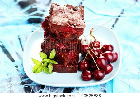 stack of delicious brownie with cherries - sweet food