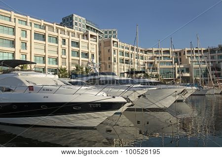 Modern Architecture And Luxury Yacht Moored At Marina, Herzliya, Israel.
