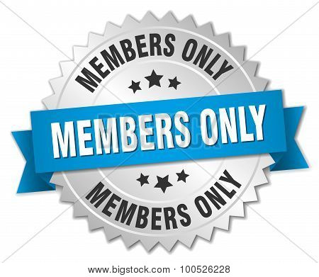Members Only 3D Silver Badge With Blue Ribbon